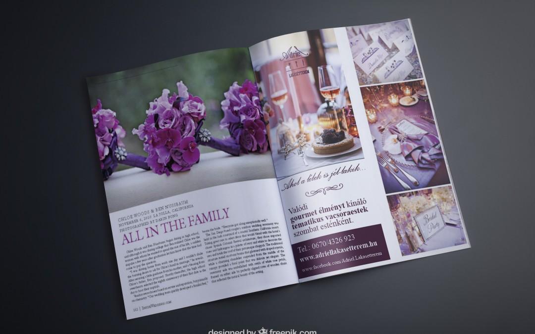 Étterem magazinban való féloldalas hirdetése