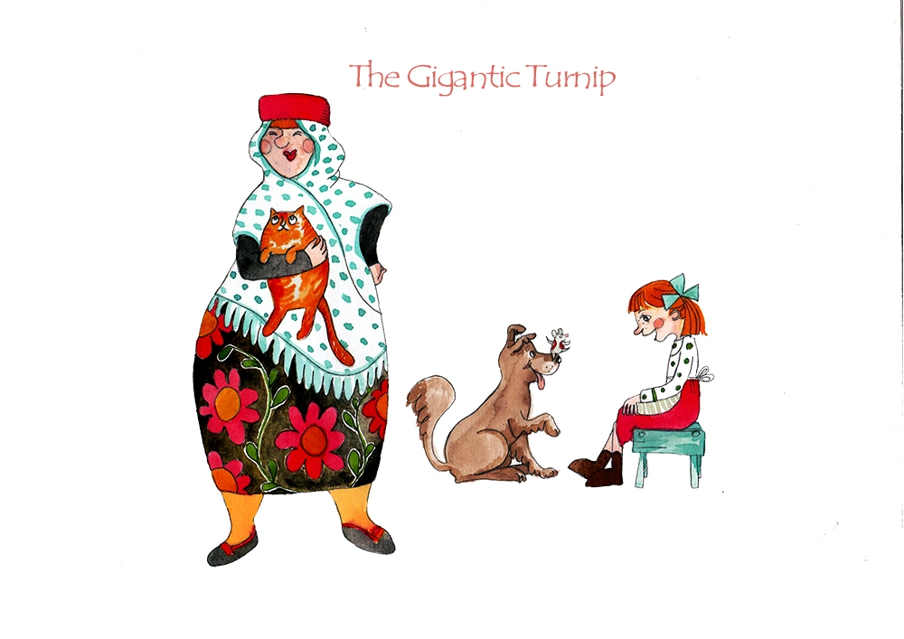 Childrens book illustration, The gigantic turnip - poses, watercolor