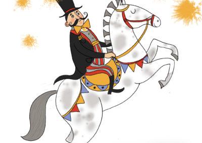 állatidomár cirkuszi lovon szines