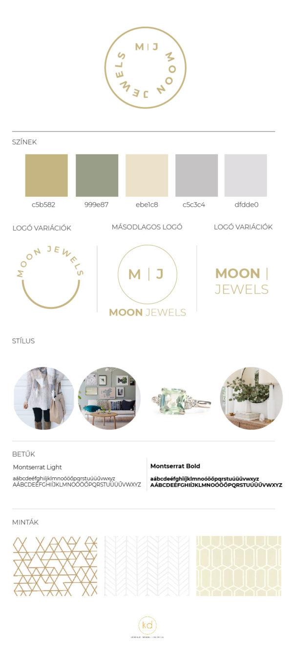 Moon Jewels elegáns, letisztult, minimál brand board ékszer, kozmetikum, tanácsadás, coaching, natúr, bio termékek