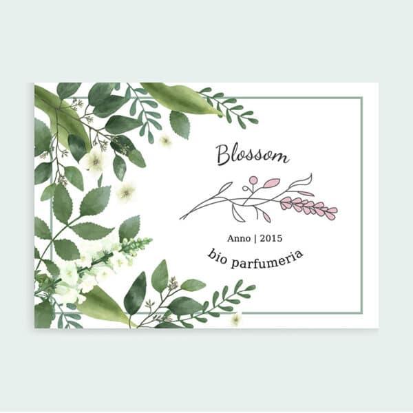 Blossom tavaszi virágos, retro, letisztult, pink, nőies logó kisvállalkozásoknak, névjegykártya, meghívó