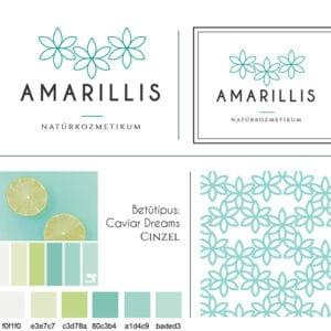 Amarillis brand board, arculati tábla Amarillis logóhoz, nőies, elegáns, letisztult, virágos, türkiz logó