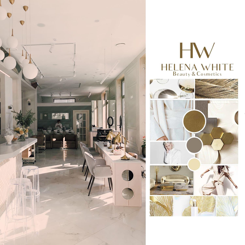 Helena White luxuskozmetikai salon, modboard, logo