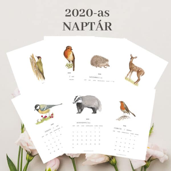2020as, nyomtatható, akvarell fali naptár