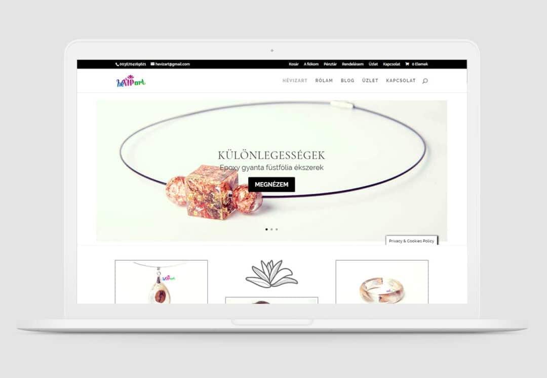 Hevizart gyantaékszerek weboldal készítése