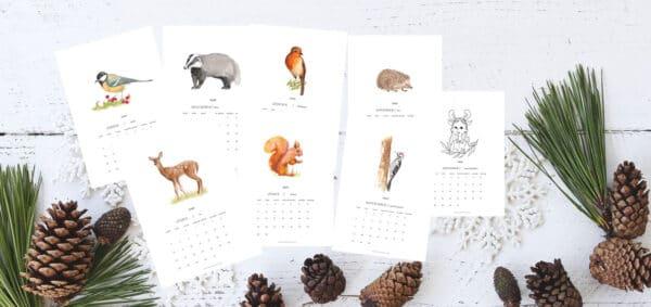 2020as akvarell, állatos naptár
