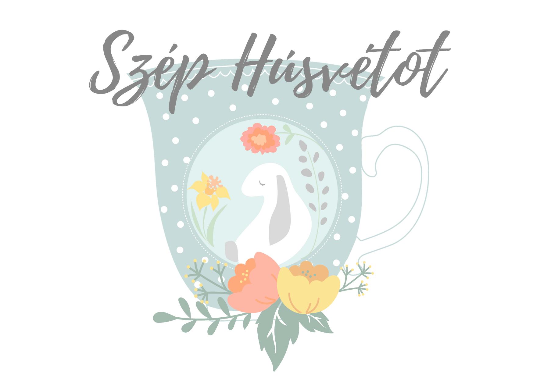 Húsvéti képeslap nyuszi, pöttyös csésze, tavaszi virágokillusztrációval